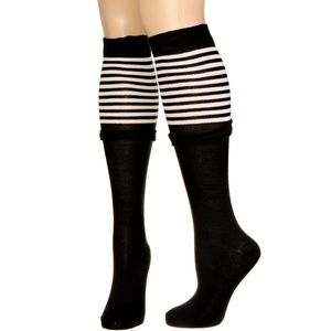NEW Walk The Line Striped Knee High Boot Socks